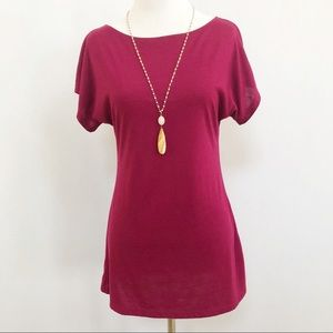 Xhilaration raspberry boat neck dolman tunic top